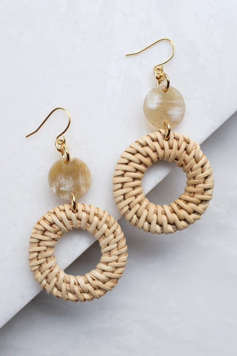 Nam Dinh 16K Gold Plated Natural Rattan (Straw/Wicker) & Beige Buffalo Horns Earrings Hathorway - ourCommonplace