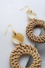 Nam Dinh 16K Gold Plated Natural Rattan (Straw/Wicker) & Honey Buffalo Horns Earrings - ourCommonplace