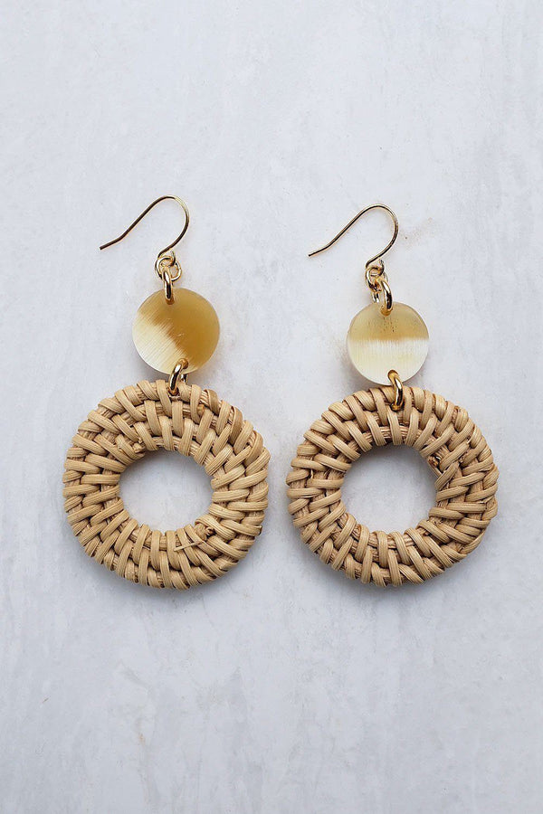 Nam Dinh 16K Gold Plated Natural Rattan (Straw/Wicker) & Honey Buffalo Horns Earrings
