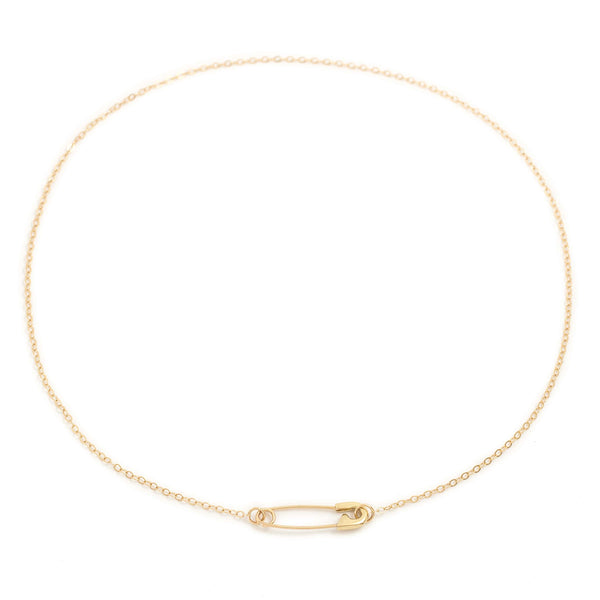 Safety Pin Necklace - 14k yellow gold