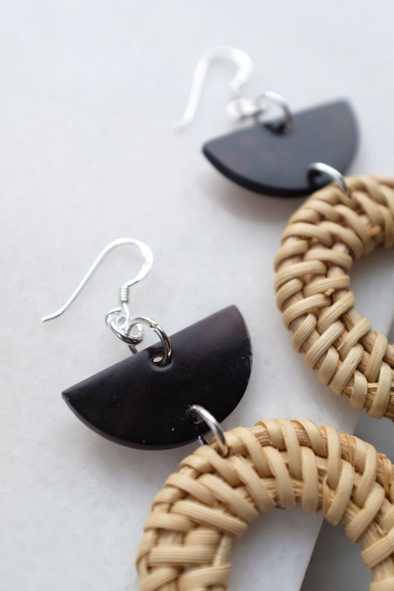 Ninh Binh Sterling Silver Rattan (Straw/Wicker) & Black Crescent Buffalo Horns Earrings - ourCommonplace
