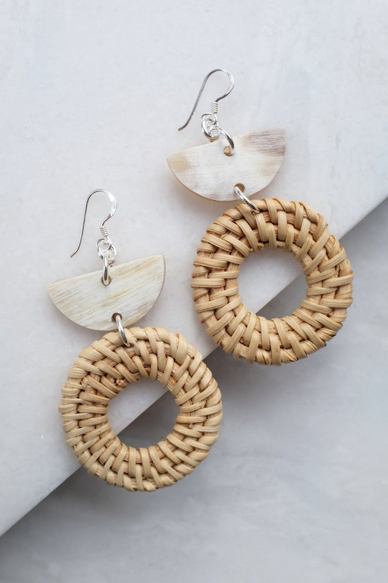 Ninh Binh Sterling Silver Rattan (Straw/Wicker) & Cream Crescent Buffalo Horns Earrings Hathorway - ourCommonplace