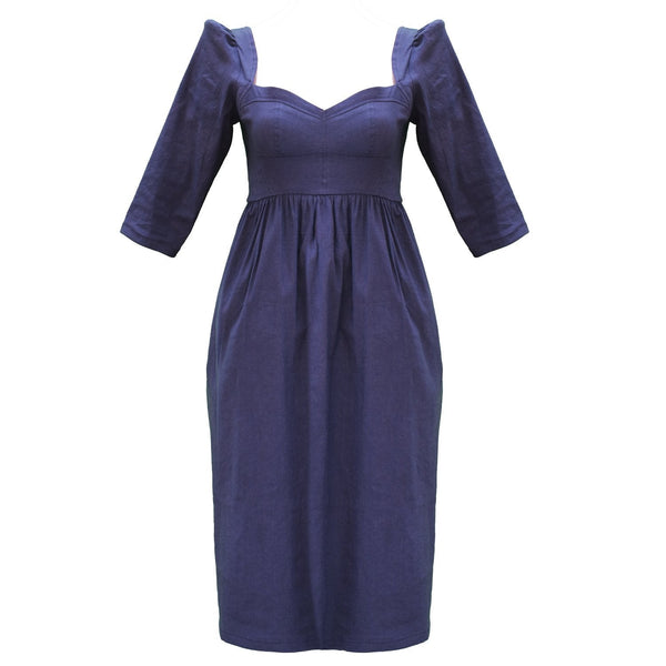 Violet Dress / Navy Stretch Linen - ourCommonplace