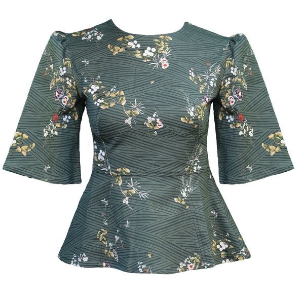 Lisa Top / Olive Floral Cotton
