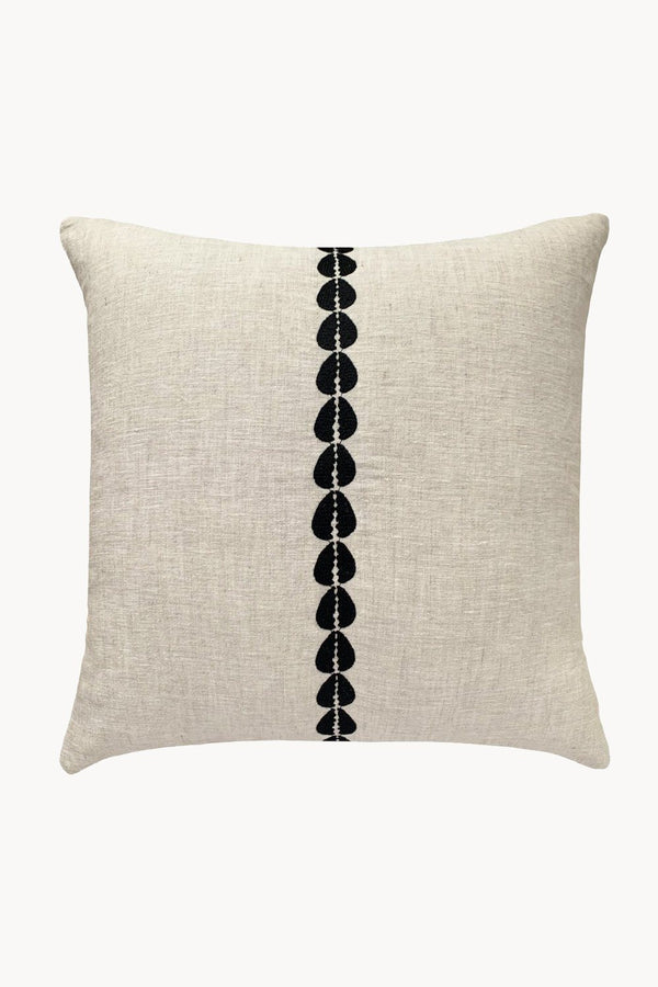 Cowrie Embroidered Linen Pillow - Natural Hathorway - ourCommonplace