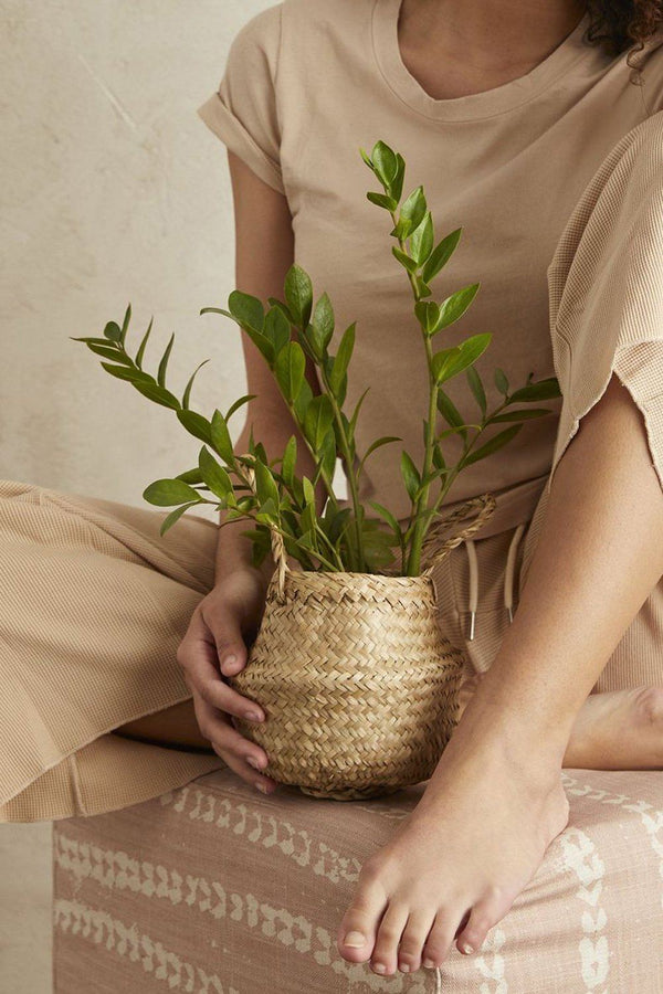 Small Handwoven Seagrass Tabletop Belly Basket - ourCommonplace