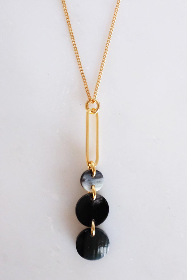 Sa Dec Circular Drop Buffalo Horn Long Pendant Necklace