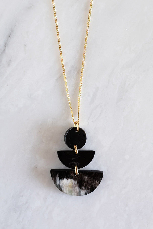 Saigon Geometric Buffalo Horn Pendant Necklace Hathorway - ourCommonplace