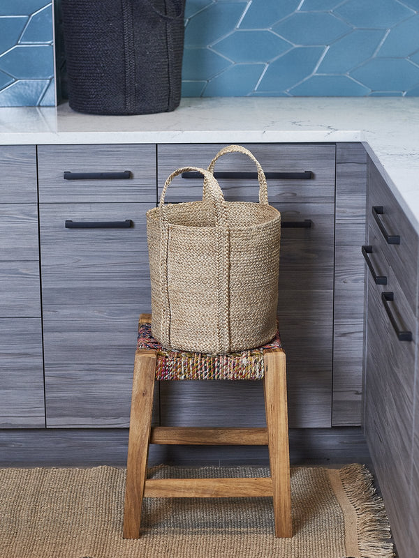 Kata Hand-Braided Jute Basket with handle - Natural KORISSA - ourCommonplace