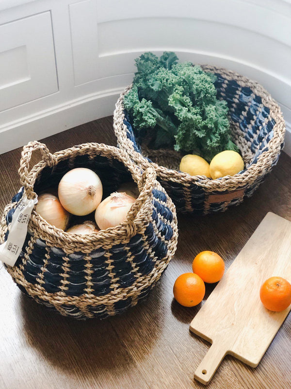 Daya Denim Foldable Basket KORISSA - ourCommonplace