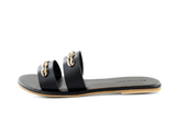 Bayside Double Banded Shell Slide in Black Salt + Umber - ourCommonplace