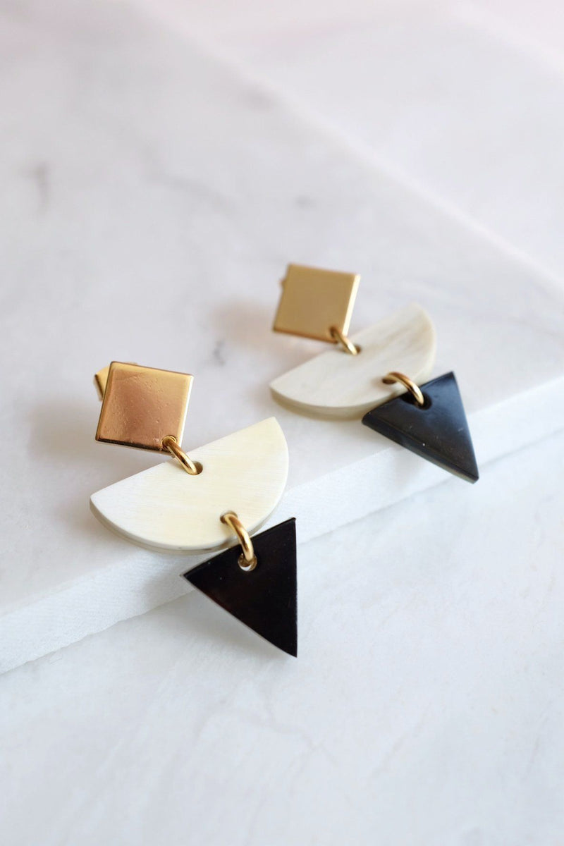 Buom 16K Gold Plated Color Block Geometric Statement Buffalo Horn Earrings Hathorway - ourCommonplace