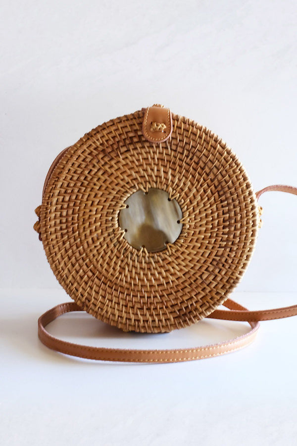 Tan Tien Buffalo Horn Centerpiece Circle Wicker Rattan Bag Hathorway - ourCommonplace