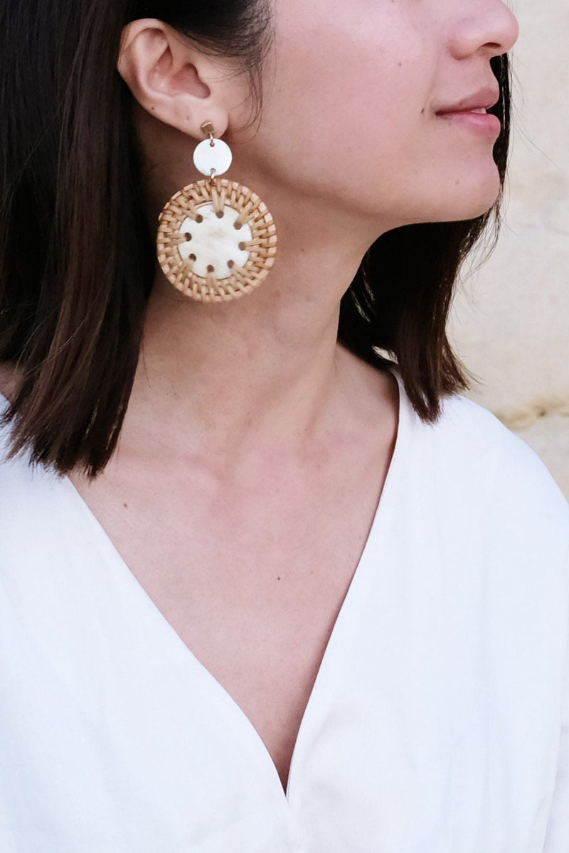 Thuy Binh Buffalo Horn & Handwoven Rattan Dangle Earrings - ourCommonplace
