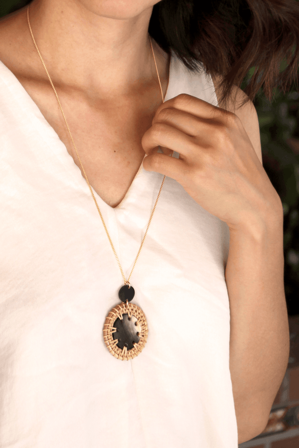 Thuy Binh Buffalo Horn & Handwoven Rattan Pendant Necklace - ourCommonplace