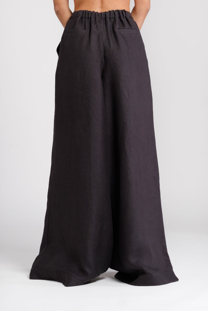 Palazzo trousers in black hemp - ourCommonplace