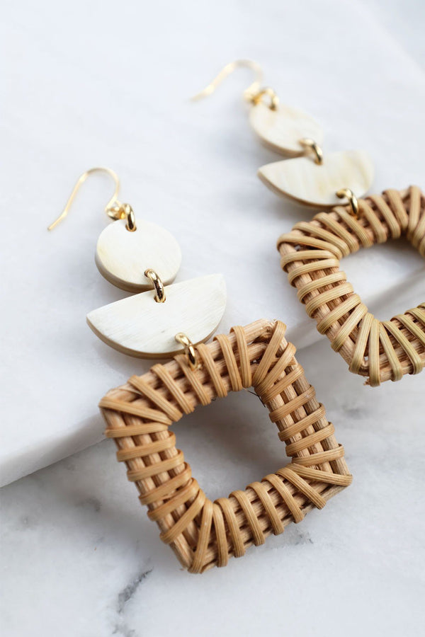 Tu 16K Gold-Plated Brass Buffalo Horn & Rattan/Wicker Square Geo Statement Earrings Hathorway - ourCommonplace