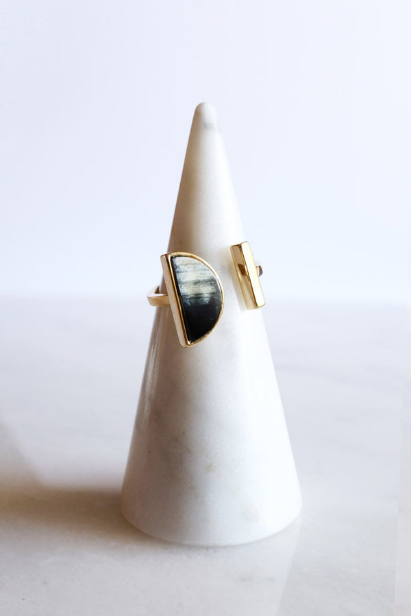 Ve Tinh 16K Gold-Plated Brass Buffalo Horn Crescent and Bar Ring Hathorway - ourCommonplace