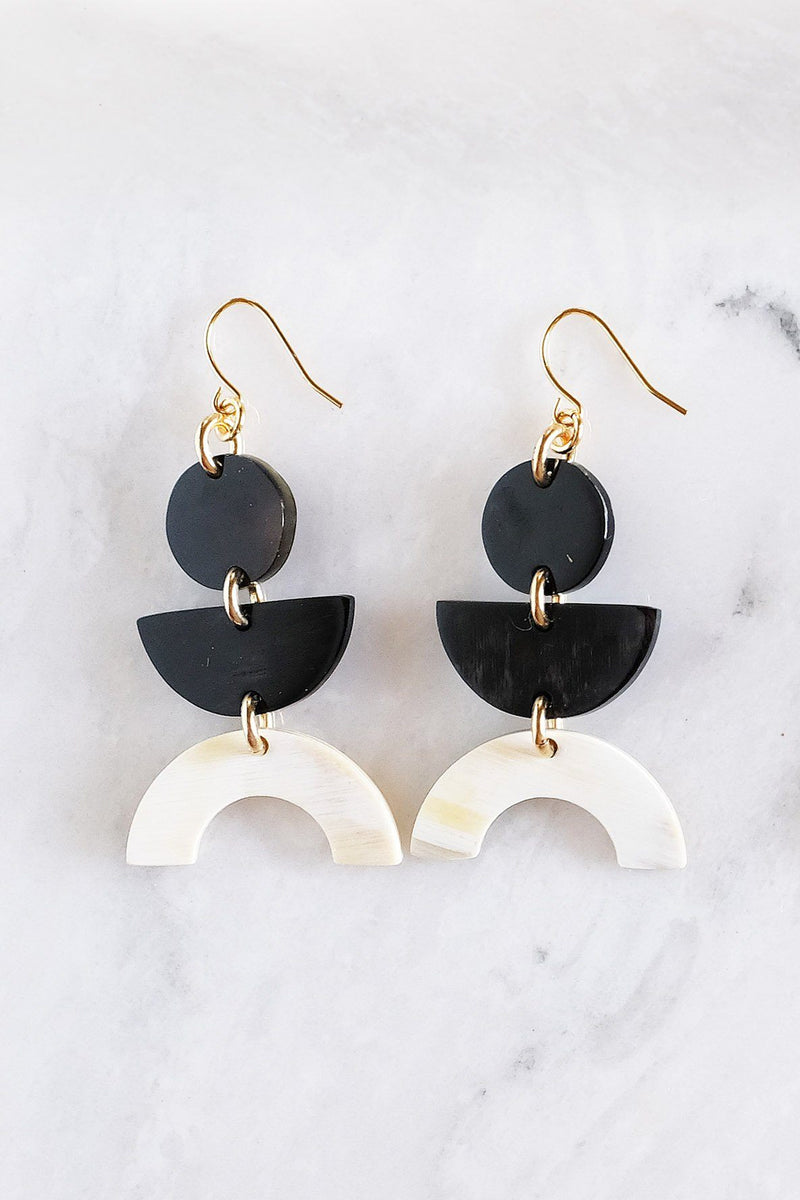 Vui Mung Geometric Buffalo Horn Statement Earrings Hathorway - ourCommonplace