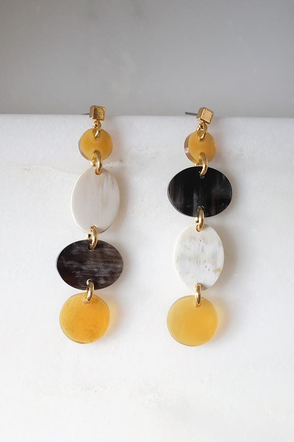 Xinh Xan Asymmetrical Geo Buffalo Horn Dangle Post Earrings Hathorway - ourCommonplace