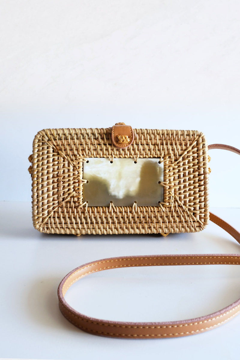 XO DANG BUFFALO HORN CENTERPIECE RECTANGULAR WICKER RATTAN HANDBAG Hathorway - ourCommonplace