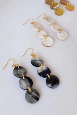 Yen Bai 16K Gold-Plated Brass Buffalo Horn Circle Drop Earrings Hathorway - ourCommonplace