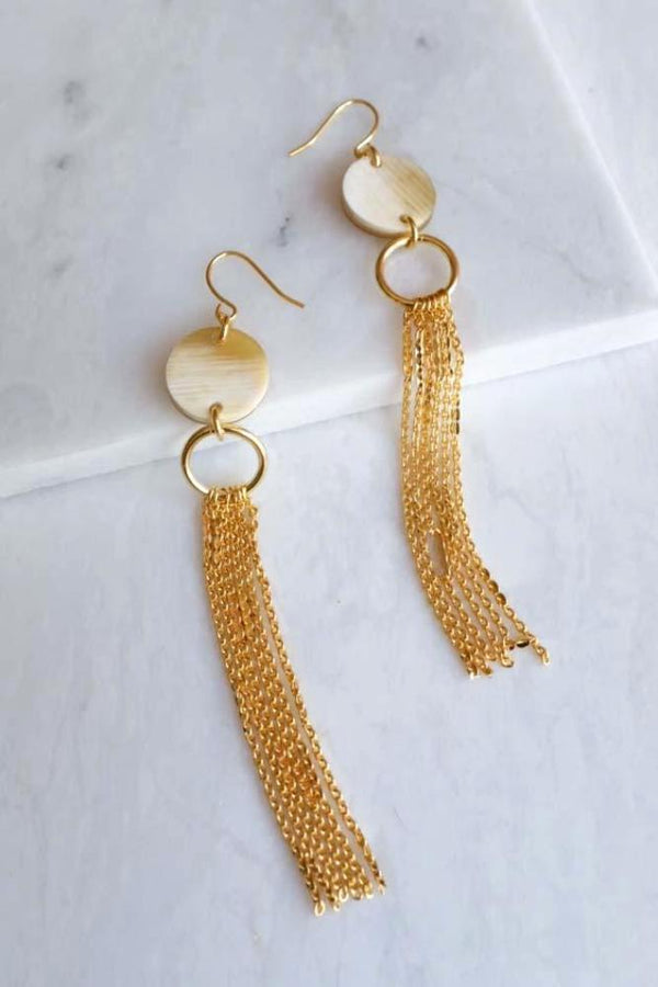Khanh Hoa 16K Gold Plated Long Tassel Circle Buffalo Horn Earrings Hathorway - ourCommonplace
