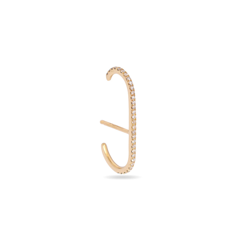 Oval Ear Cuff with Pavé Diamond -  14k Yellow Gold - ourCommonplace
