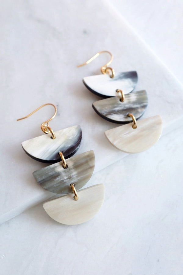 Hanoi 16K Gold Plated Triple Crescent Multi-colored Buffalo Horn Earrings
