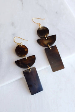 Con Dao 16K Gold Plated Dark Geometric Buffalo Horn Earrings - ourCommonplace