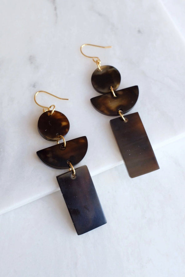 Con Dao 16K Gold Plated Dark Geometric Buffalo Horn Earrings