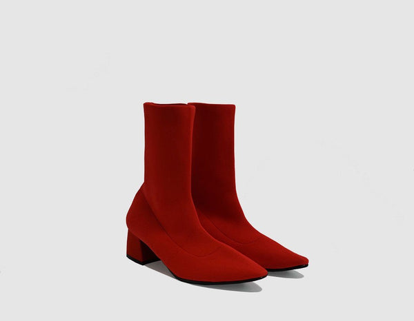 Nº 10 Red Knit Ankle Boots - ourCommonplace