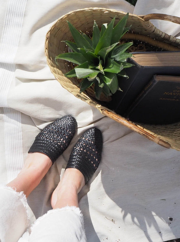 Lily Handwoven Mule in Black Salt + Umber - ourCommonplace