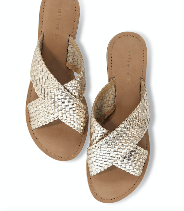 Dani Handwoven X-Band Slide in Gold Salt + Umber - ourCommonplace