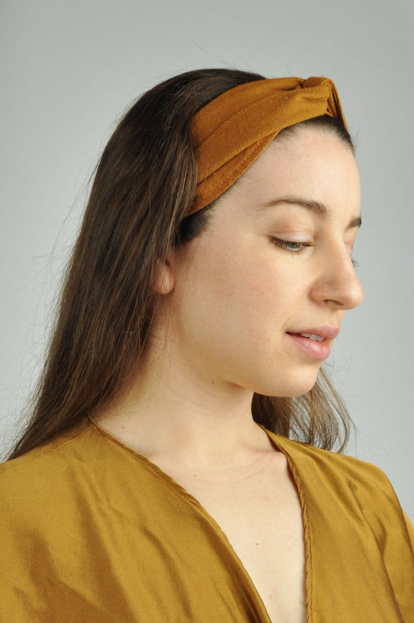 Raw Silk Spa Headwrap in Copper Damiano Collection - ourCommonplace
