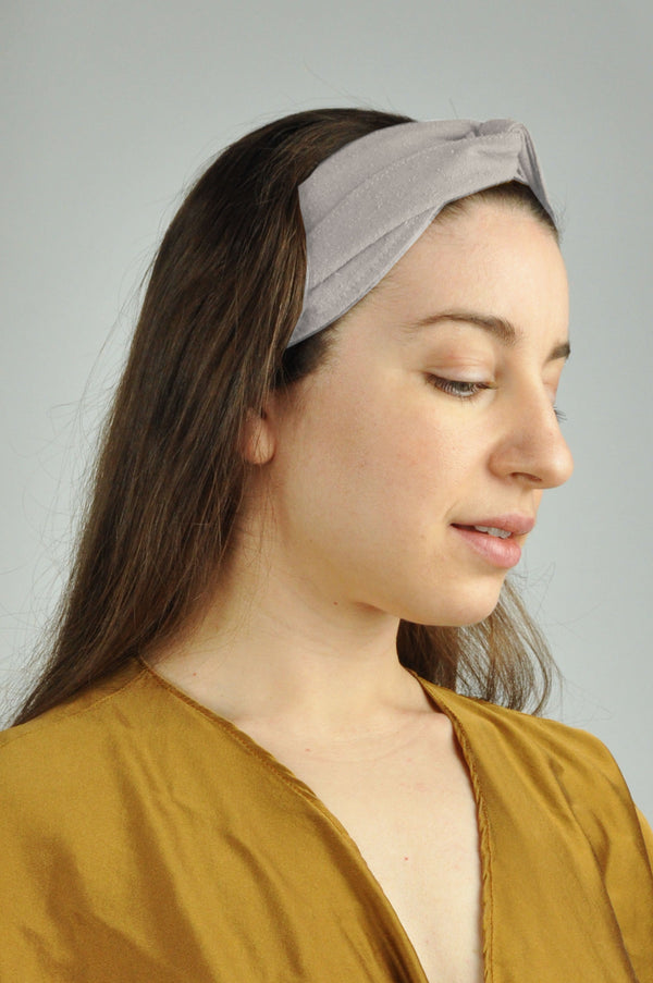 Raw Silk Spa Headwrap in Gray Damiano Collection - ourCommonplace