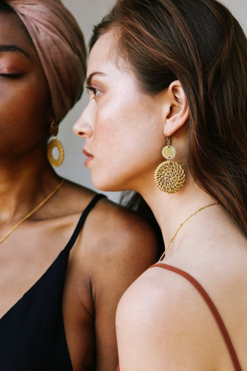 Hoa Lu 16K Gold Plated Natural Rattan (Straw/Wicker) & Buffalo Horns Earrings Hathorway - ourCommonplace