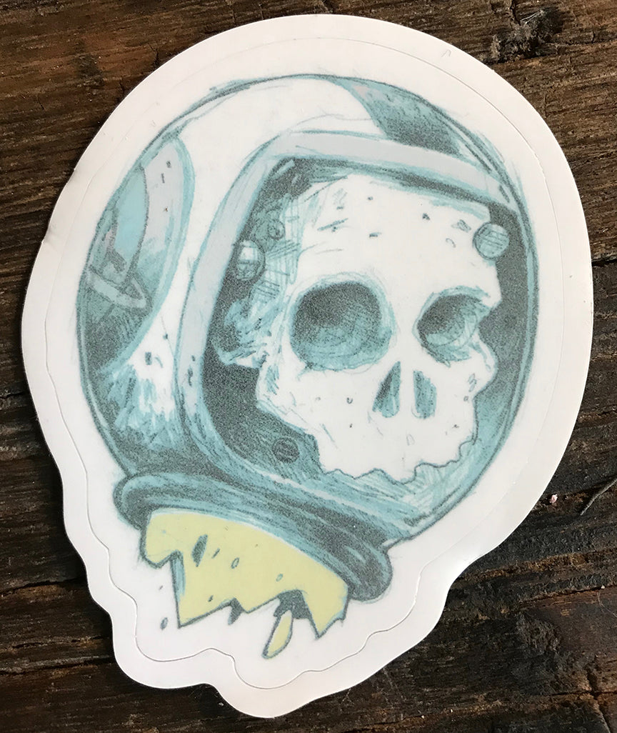 FLOATING SPACE SKULL STICKER