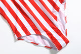 Red Striped One Piece Bikini