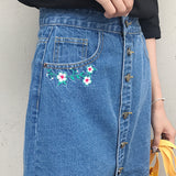 Flower Embroidered Denim Skirt