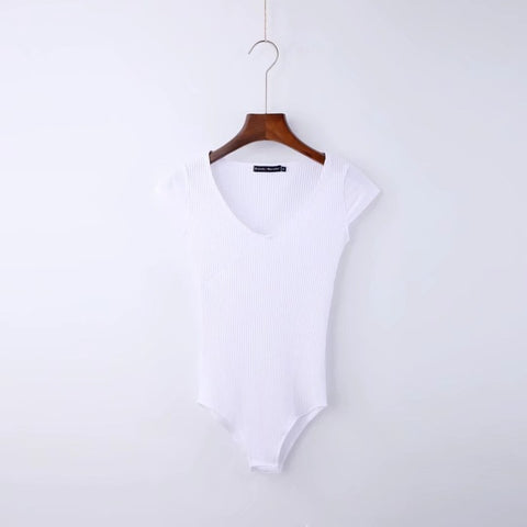 Short Sleeve V-Neck Bodysuit