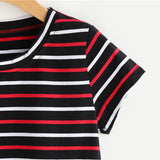 Striped Casual Multicolor T-Shirt