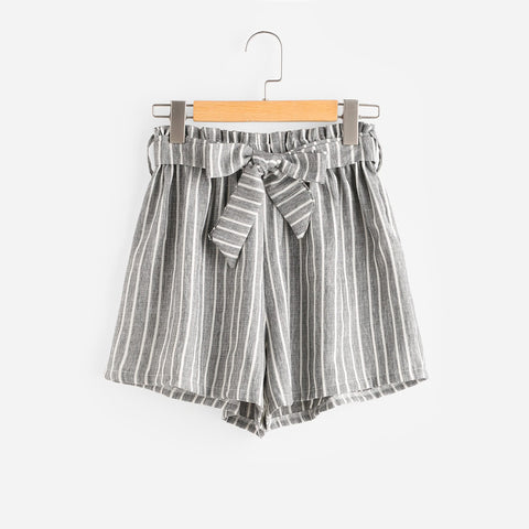Vertical Striped High Waisted Shorts