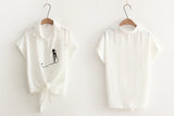 White Summer Blouse with Embroideries