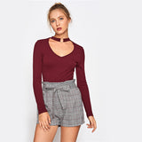 Burgundy O-Ring Choker Neck Top