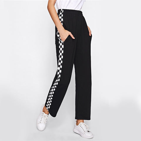High Waisted Side Checkered Pants