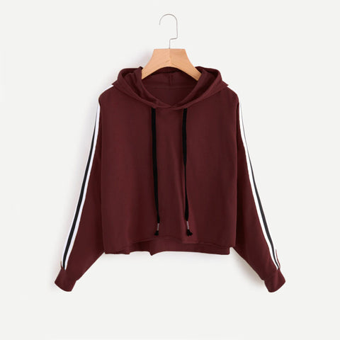 Burgundy Side Striped Hooded Sweatshirt