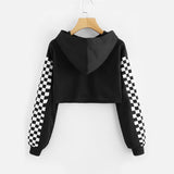 Checkered Sleeve Crop Sweatshirt