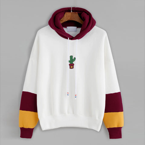 Cactus Printed Hooded Sweater
