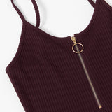 O-Ring Front Zipper Ribbed Bodysuit
